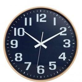 TIMBER TIME Nástěnné hodiny - modrá