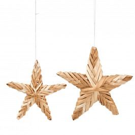 Vánoční ozdoby ze slámy - hvězda, set 2 ks