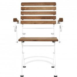 PARKLIFE Skládací židle s područkami - bílá/hnědá