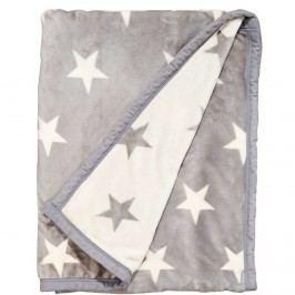 STARS Flanelová deka s hvězdami - šedá/bílá