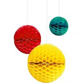 MAJA Papírová dekorační koule - žlutá/červená/petrolejová