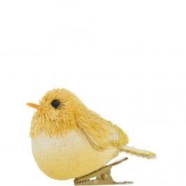 SUMMER BIRDS Ptáček s klipem - žlutá