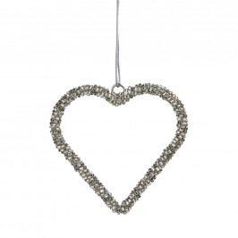 HANG ON Ozdoba z korálků srdce - stříbrná