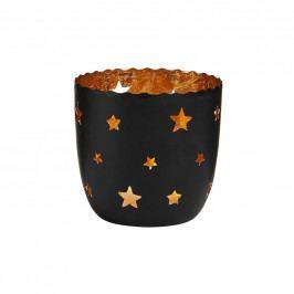 DELIGHT Svícen na čajovou svíčku hvězdy velký - černá/zlatá