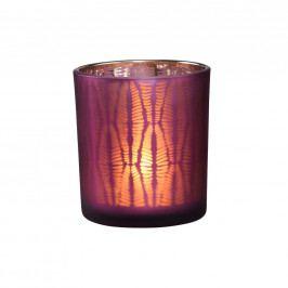 DELIGHT Svícen na čajovou svíčku žebrovaný - lila