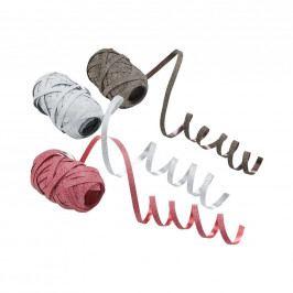RIBBON Stužky, set 3 ks - stříbrná/červená/hnědá