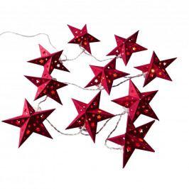 ORIGAMI Světelný řetěz papírové hvězdy 10 světel - červená