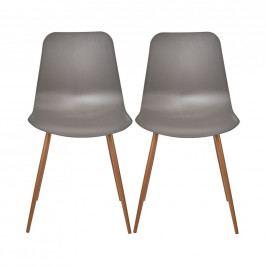 SHELL Židle set 2 ks - šedohnědá