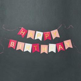 BANNER DAY Girlanda Happy Birthday - sv. růžová