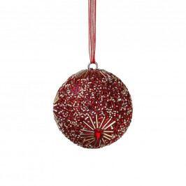 HANG ON Ozdoba vánoční koule s perlami 8 cm - růžová
