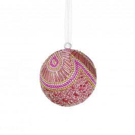 HANG ON Ozdoba vánoční koule s perlami 8 cm - sv. růžová