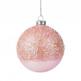 HANG ON Ozdoba koule s perlami 8 cm - sv. růžová