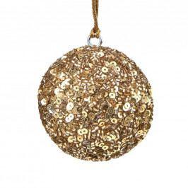 HANG ON Ozdoba koule s flitry 7 cm - zlatá