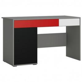 Sconto Psací stůl LASER červená/šedá