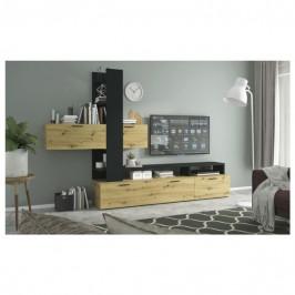 Sconto Obývací stěna EASY dub artisan/šedá