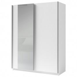 Sconto Šatní skříň se zrcadlem SPLIT bílá, šířka 180 cm