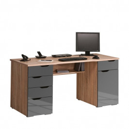 Sconto Počítačový stůl LOKI dub sonoma/šedá vysoký lesk
