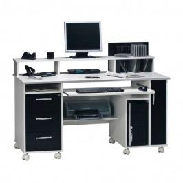 Sconto PC stůl MIKKO bílá/černá