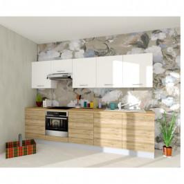 Sconto Kuchyňská sestava FACHMAN B1, 304 cm bílá vysoký lesk/dub alicante