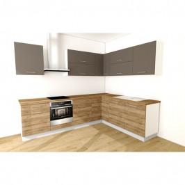 Sconto Rohová kuchyňská sestava FACHMAN B4, 277x217 cm antracitová vysoký lesk/dub alicante