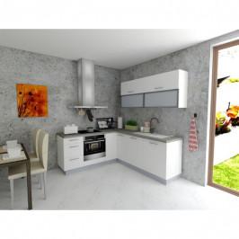 Sconto Rohová kuchyňská sestava FACHMAN B6, 202x217 cm bílá vysoký lesk