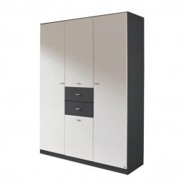 Sconto Šatní skříň LORELEI šedá/bílá, 4-dveřová