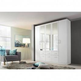 Sconto Šatní skříň BAYLEE alpská bílá, 5-dveřová se 3 zrcadly
