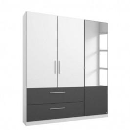 Sconto Šatní skříň AUBREE alpská bílá/šedá, 3-dveřová s 1 zrcadlem
