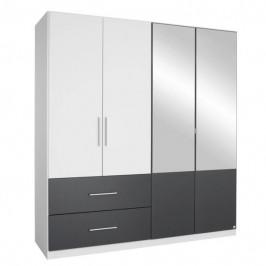 Sconto Šatní skříň AUBREE alpská bílá/šedá, 4-dveřová se 2 zrcadly