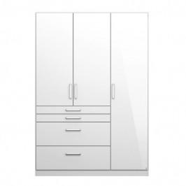 Sconto Šatní skříň HAYDEN bílá vysoký lesk, 3-dveřová