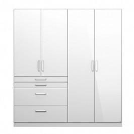 Sconto Šatní skříň HAYDEN bílá vysoký lesk, 4-dveřová