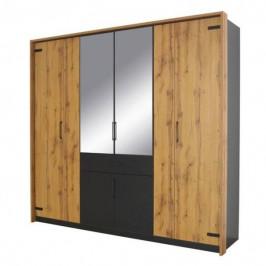 Sconto Šatní skříň ADDISON dub wotan/ šedá, 8 dveří, 2 zrcadla, 1 zásuvka