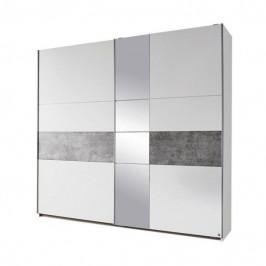 Sconto Šatní skříň CADENCE bílá/šedá, šířka 218 cm