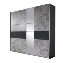 Sconto Šatní skříň CADENCE šedá/antracitová, šířka 218 cm