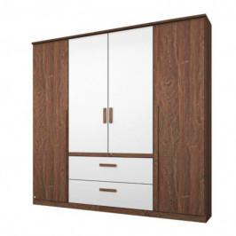 Sconto Šatní skříň GABRIELLE dub stirling/alpská bílá, 4 dveře, 2 zásuvky