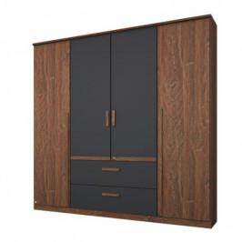 Sconto Šatní skříň GABRIELLE dub stirling/šedá, 4 dveře, 2 zásuvky