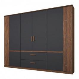 Sconto Šatní skříň GABRIELLE dub stirling/šedá, 6 dveří, 2 zásuvky