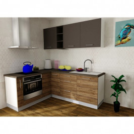 Sconto Rohová kuchyňská sestava FACHMAN B13, 172x217 cm antracitová vysoký lesk/dub alicante
