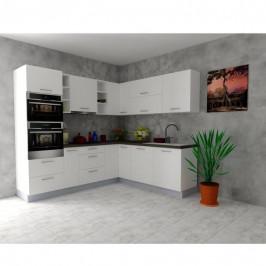 Sconto Rohová kuchyňská sestava FACHMAN B14, 245x217 cm bílá vysoký lesk