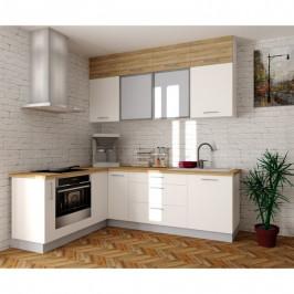 Sconto Rohová kuchyňská sestava FACHMAN B12, 172x247 cm dub alicante/bílá vysoký lesk