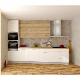 Sconto Kuchyňská sestava FACHMAN B8, 332 cm dub alicante/bílá vysoký lesk