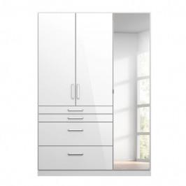 Sconto Šatní skříň HAYDEN bílá vysoký lesk, 3-dveřová, se zrcadlem
