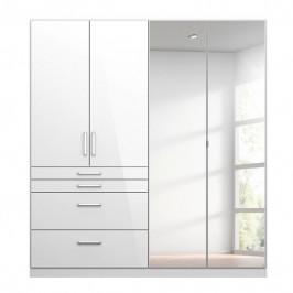 Sconto Šatní skříň HAYDEN bílá vysoký lesk, 4-dveřová, se zrcadlem