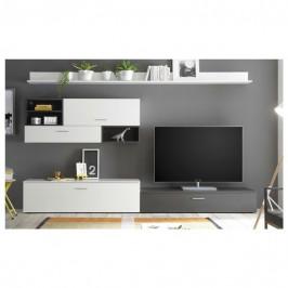 Sconto Obývací stěna NEW VISION 6 bílá/šedá