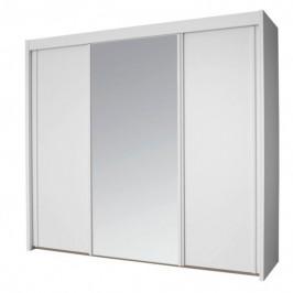 Sconto Šatní skříň KING bílá, 250 cm, 1 zrcadlo