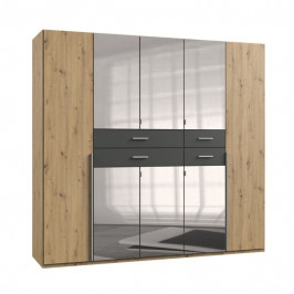 Sconto Šatní skříň DECLAN dub artisan/grafit, 225 cm, 6 zrcadel