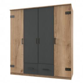 Sconto Šatní skříň GRAYSON prkenný dub/grafit, bez zrcadla