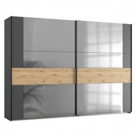 Sconto Šatní skříň SAVANNA dub artisan/grafit, 300 cm