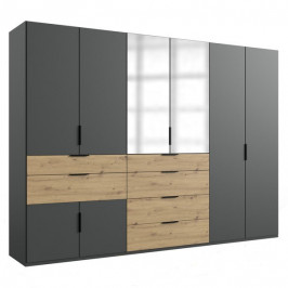 Sconto Šatní skříň SAVANNA dub artisan/grafit, 300 cm, 2 zrcadla