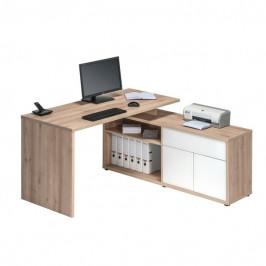 Sconto Rohový psací stůl ARLO buk/bílá